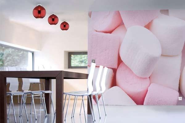 papier peint cuisine chamallows izoa. Black Bedroom Furniture Sets. Home Design Ideas