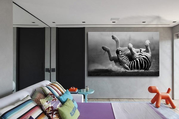 tableau deco zebre bain de sable izoa. Black Bedroom Furniture Sets. Home Design Ideas