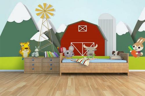 cool papier peint enfant la ferme with papier peint trompe l oeil enfant. Black Bedroom Furniture Sets. Home Design Ideas