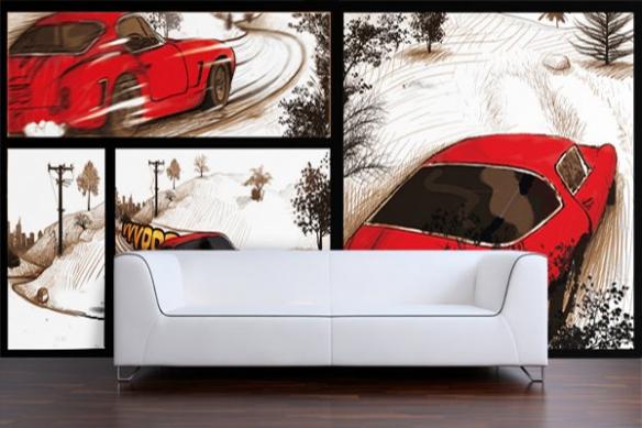 Papier Peint design BD voiture rouge retro