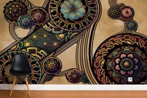 Papier peint déco Rosaces