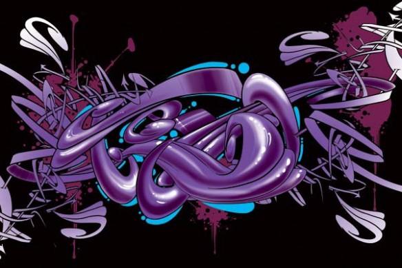 Tableau abstrait Graff violet