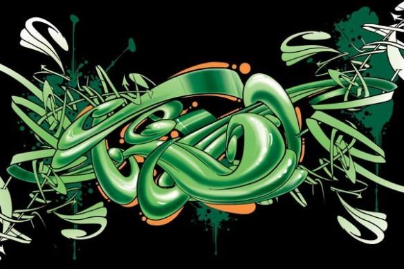 Tableau toile abstrait Graff vert