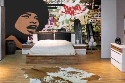 papier peint vintage street art izoa. Black Bedroom Furniture Sets. Home Design Ideas