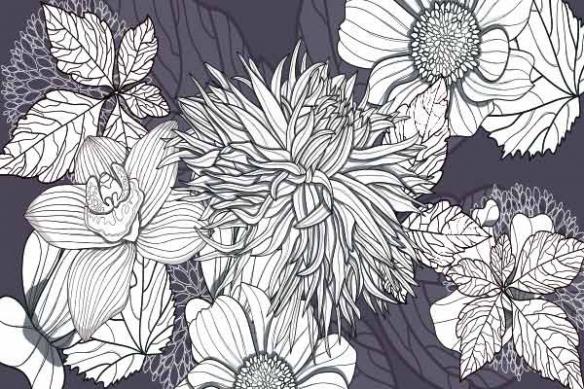 Tableau mural fleur violet