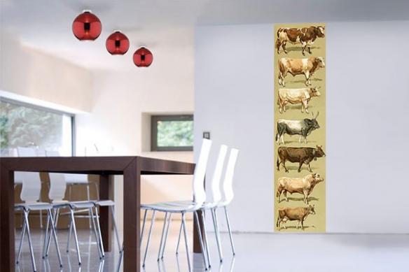 Papier peint vintage vaches du monde