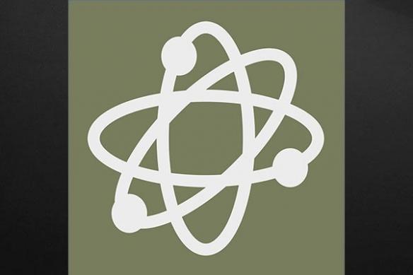 toile symbole atome vert