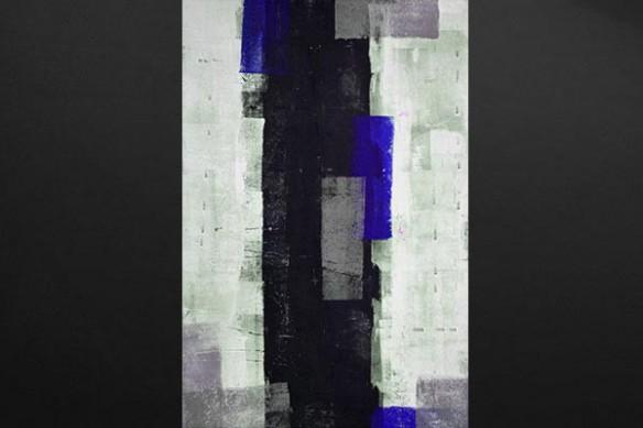 toile imprimée abstraite isotope bleu