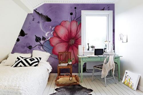 Papier peint déco anemone violet