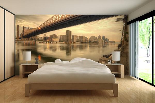 Papier peint new york brooklyn bridge izoa - Chambre a coucher new york ...