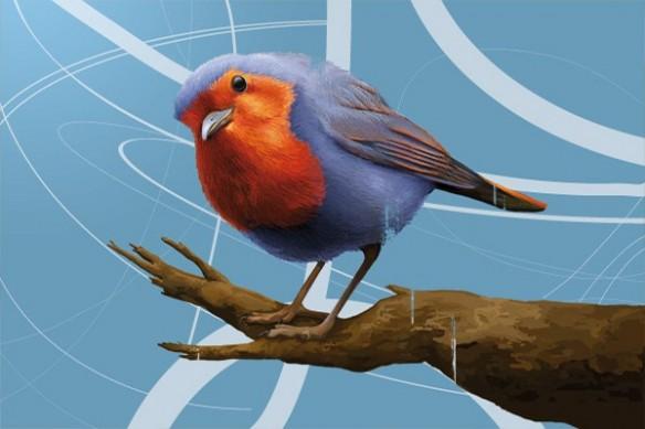 Tableau déco moinneaul Oiseau bleu ciel