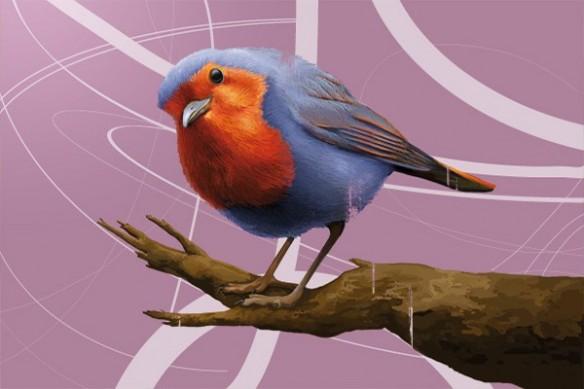 Tableau grand format Salomon l'Oiseau rose