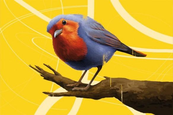 grand Tableau déco Salomon l'Oiseau jaune