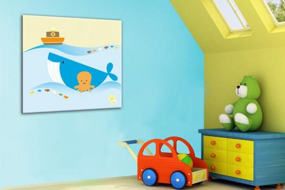 Tableau enfant Baleine Bleue by Marion Lechat
