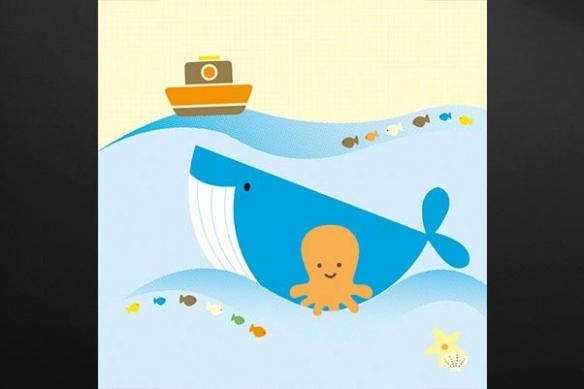 Tableau  enfant  Baleine déco Bleue