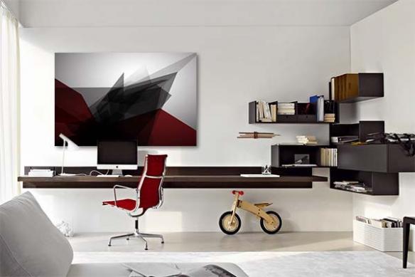 Tableau abstrait Tungstène rouge
