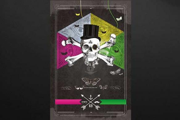 tête de mort monocle design pirate