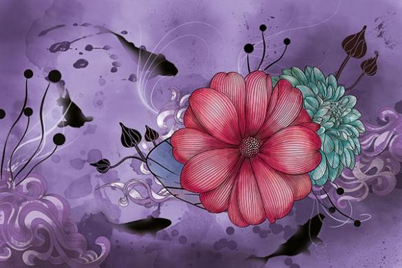 carpe koï anémone  violet