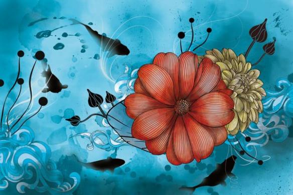 Toile mural fleur anémone bleu ciel
