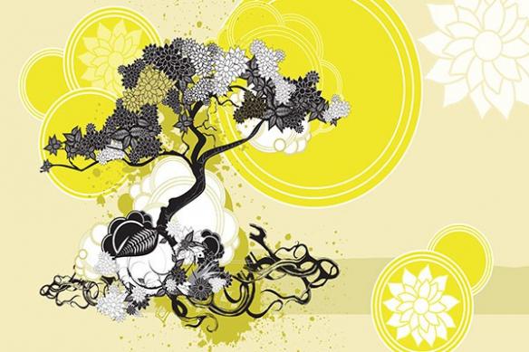 Papier peint déco Bankan jaune