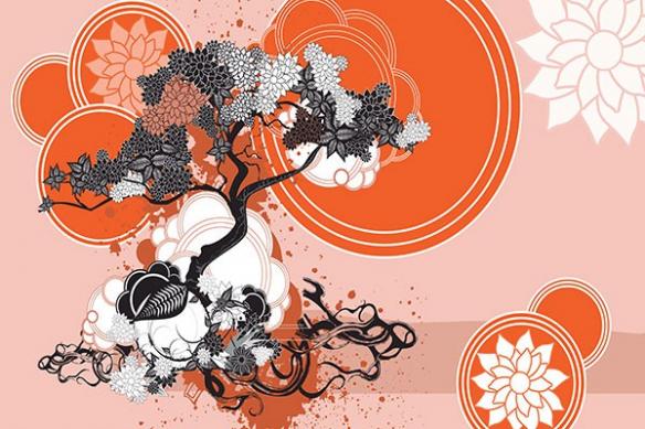 Papier peint déco Bankan orange