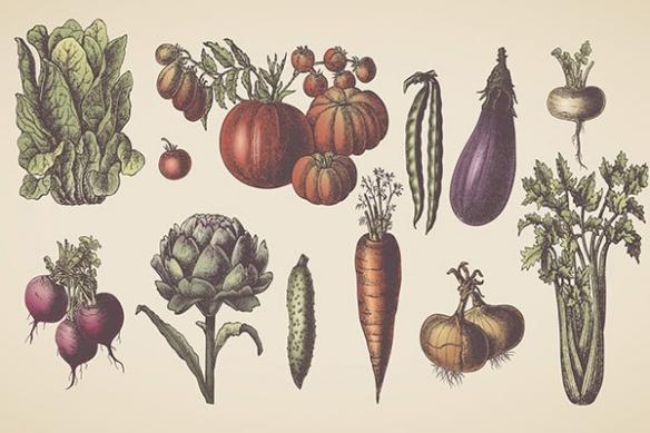 Papier peint Légumes du marché