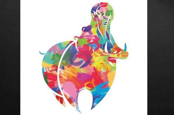 Hippopotame coloré aquarelle