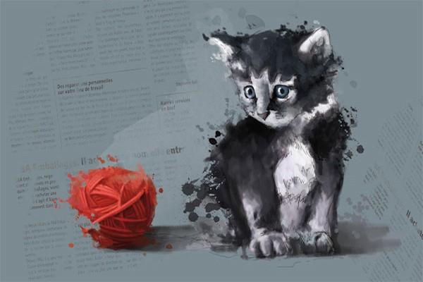 Tableau d co raoul le chat izoa - Tableau de chat moderne ...