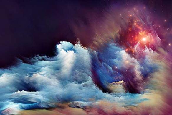 tableau salon nuages Astres étoiles