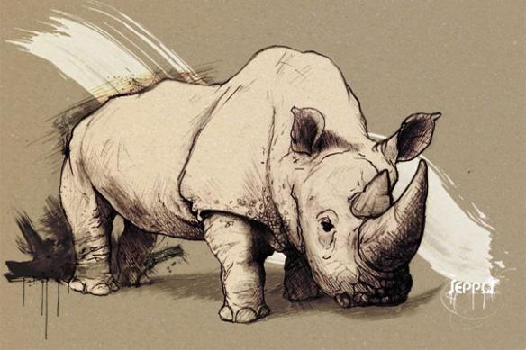 toile déco Rhinocéros gris