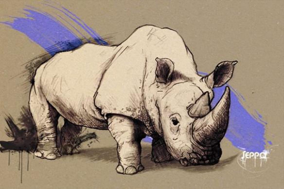 mural décoration  Rhinocéros bleu