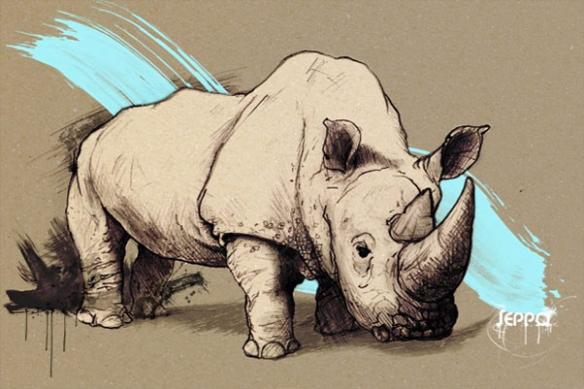 Tableau design contemporain Rhinocéros bleu ciel