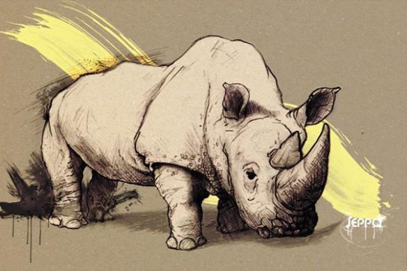 Tableau moderne murale rhinocéros jaune