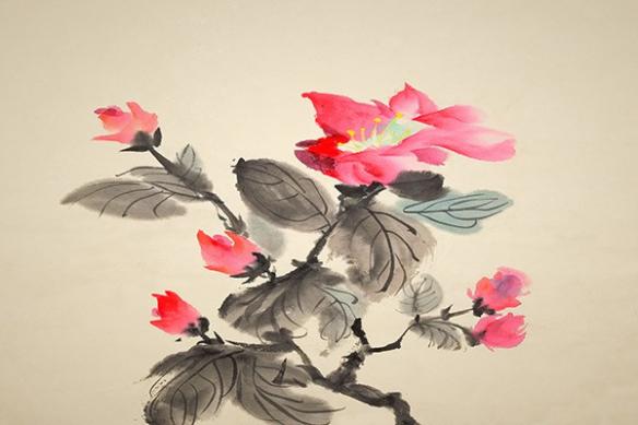 Eucharis Rose toile aquarelle déco