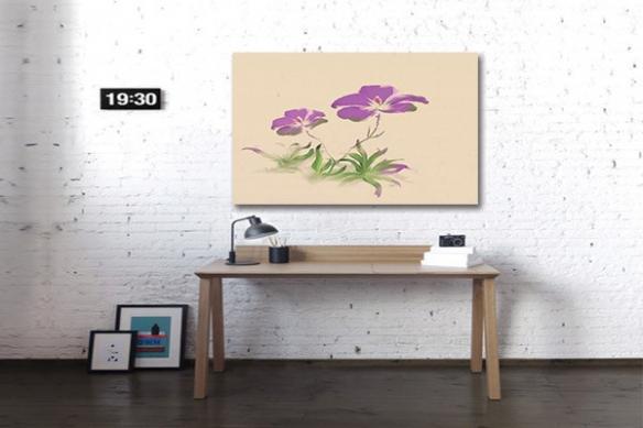 Tableau déco capucines violette