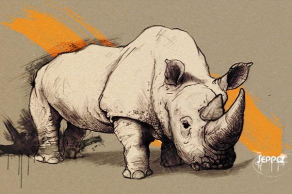 Rhinocéros décoration coloniale