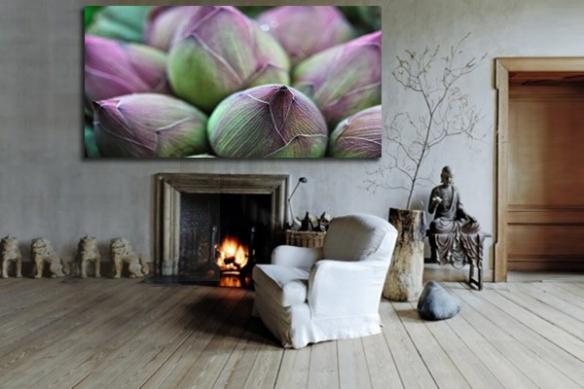 Tableau zen bourgeons lotus