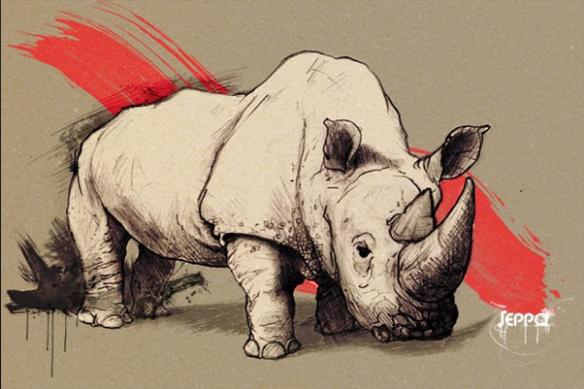 contemporain mur déco Rhinocéros rouge