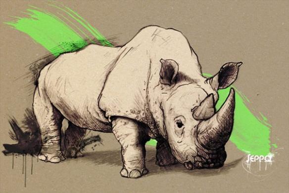 moderne déco toile Rhinocéros vert