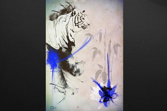 Tableau deco Tigre bleu