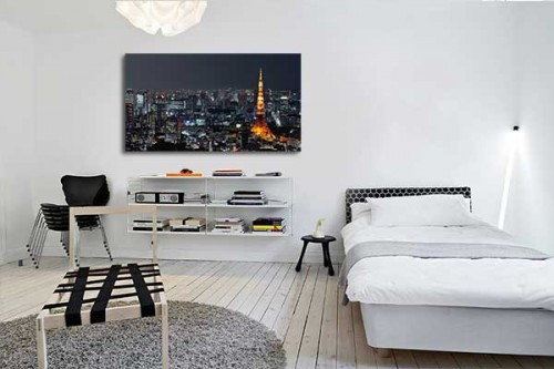 Toile Murale Tour Eiffel Américaine - Izoa