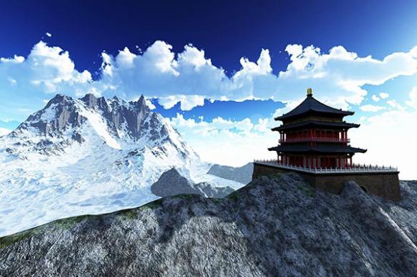décor montagne japon