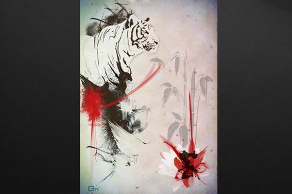 Tableau contemporain Tigre rouge