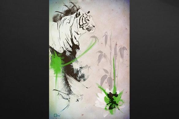 toile design Tigre vert
