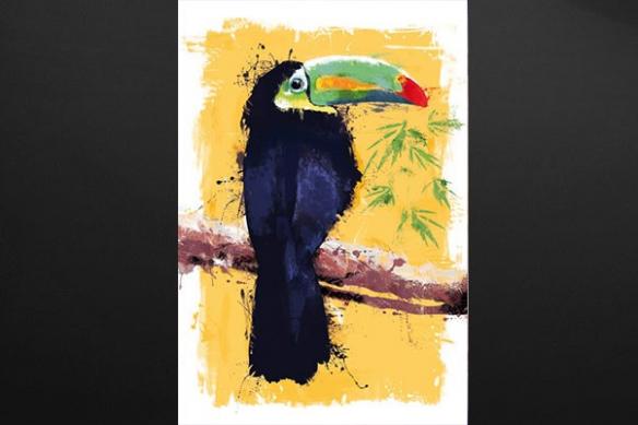 toile décoration Toucan jaune