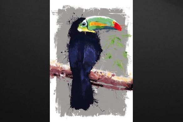 Tableau design moderne Toucan gris