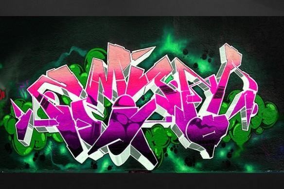 tableau design graffiti tag mur