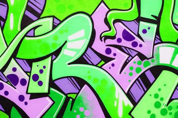 Tableau original Lascaux graffiti vert