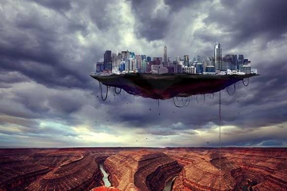 ville suspendu au dessus desert