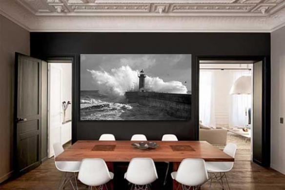 Tableau photo noir et blanc Phare Marin